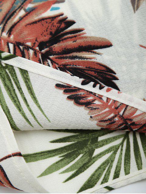 Combishort cami découpé imprimé feuilles - Blanc M Mobile