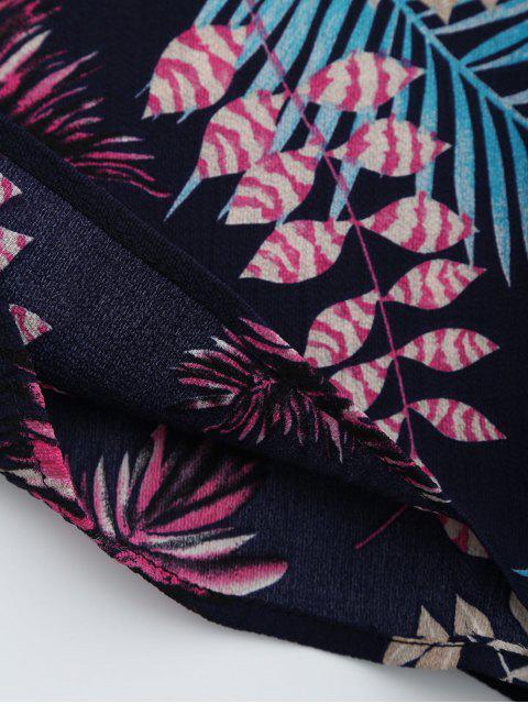 Combishort cami découpé imprimé feuilles - Bleu Violet L Mobile