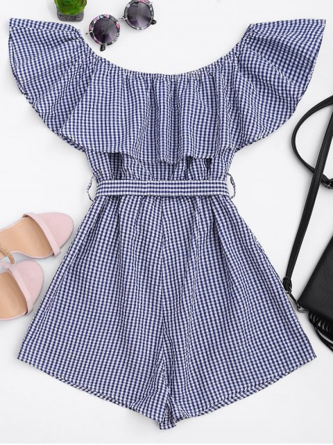 new Ruffles Belted Off Shoulder Romper - CHECKED XL Mobile