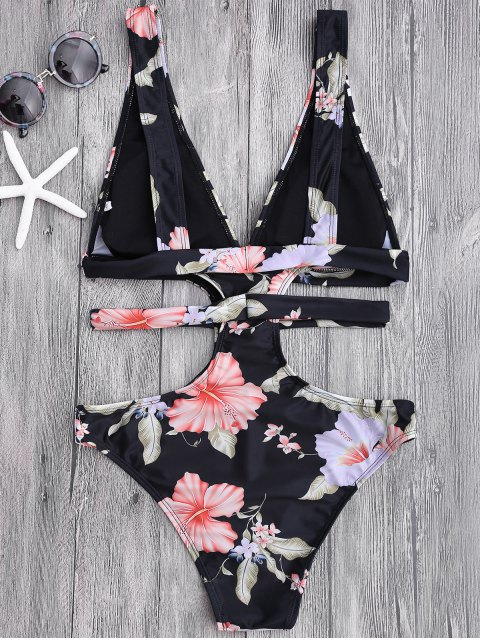hot Floral Cut Out Plunging Bandage Swimwear - BLACK M Mobile