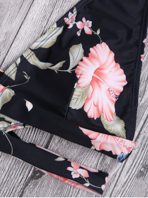 outfits Floral Cut Out Plunging Bandage Swimwear - BLACK S Mobile