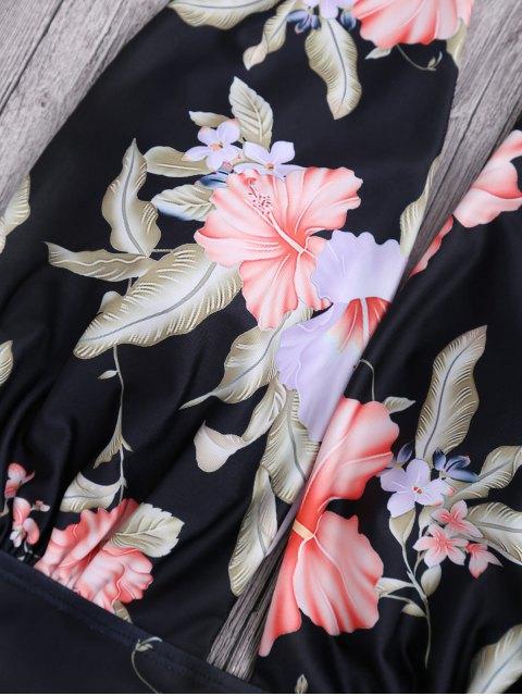 shops Plunge Floral Backless Padded Swimwear - BLACK L Mobile