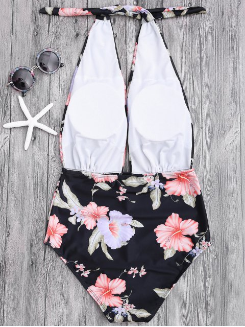 trendy Plunge Floral Backless Padded Swimwear - BLACK M Mobile