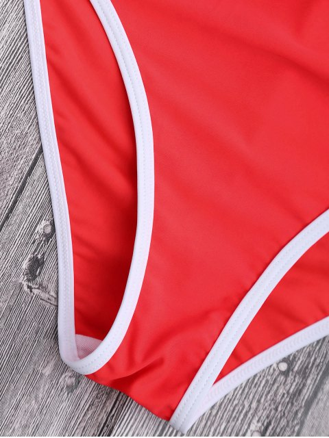 unique Halter Cut Out High Leg Swimwear - RED L Mobile