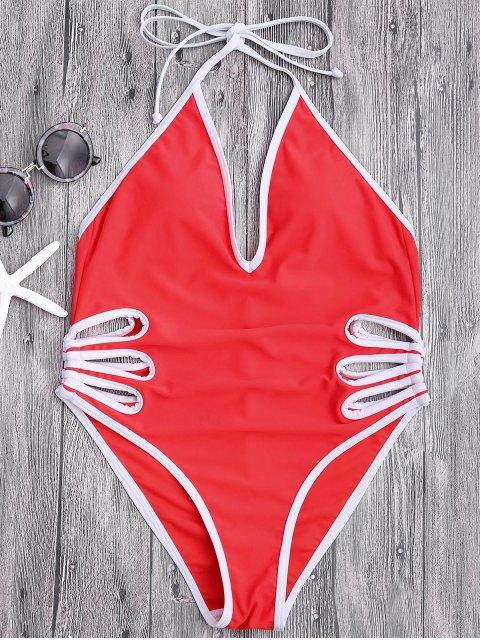 Monokini découpé à bretelles - Rouge S Mobile