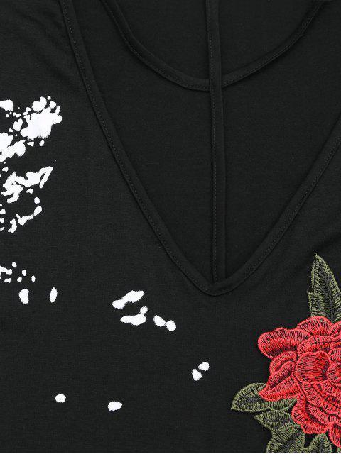 T-shirt épaule trompante avec découpes et broderie florale - Noir L Mobile