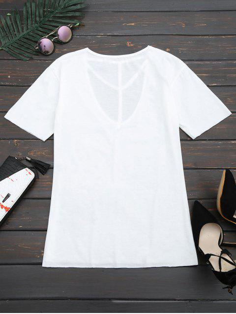latest Floral Patched Cut Out Drop Shoulder Tee - WHITE XL Mobile