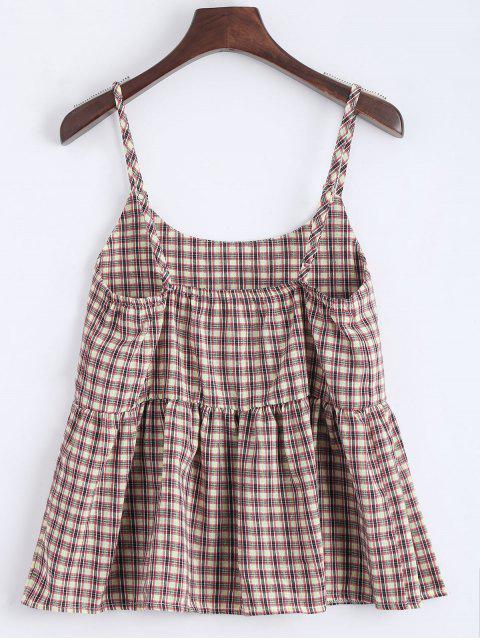 ladies Flounce Checked Cami Top - CHECKED L Mobile