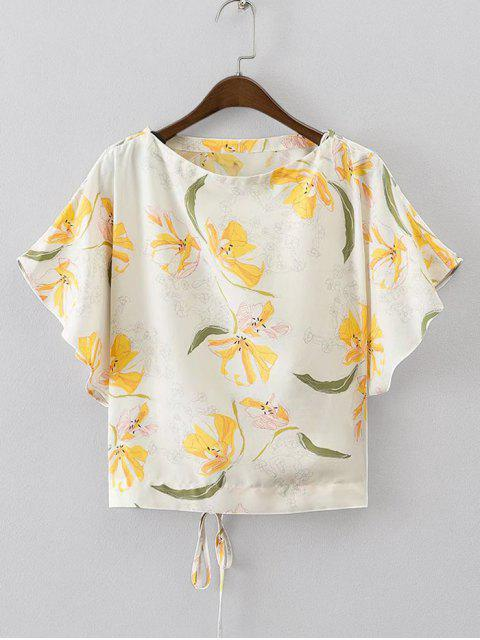 outfits Batwing Floral Lace Up Top - FLORAL M Mobile