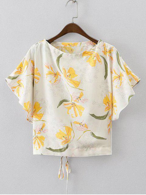 Haut lacé floral à manche chauve-souris - Floral M Mobile