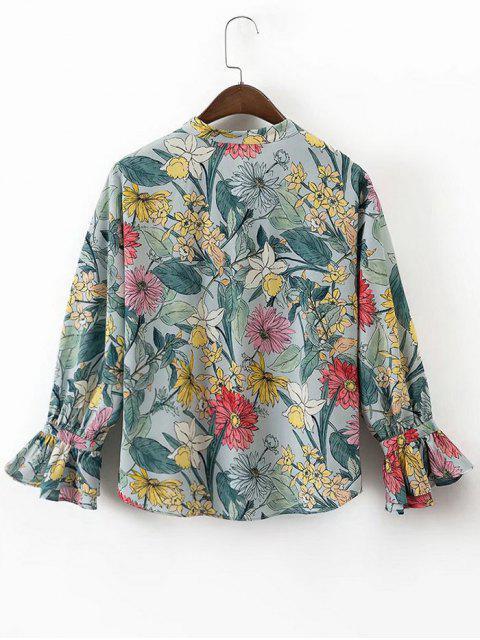 women Bow Tie Floral Button Up Blouse - FLORAL S Mobile