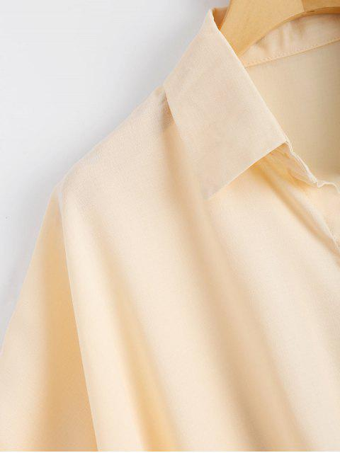 outfits Button Up Floral Patched Pocket Blouse - APRICOT ONE SIZE Mobile