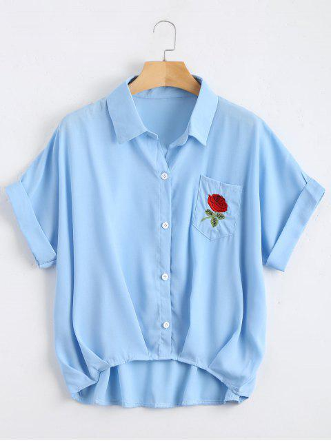 shop Button Up Floral Patched Pocket Blouse - LIGHT BLUE ONE SIZE Mobile