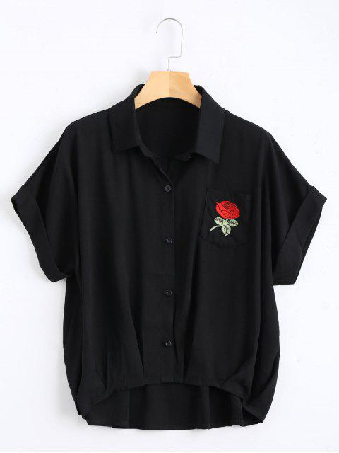 shops Button Up Floral Patched Pocket Blouse - BLACK ONE SIZE Mobile