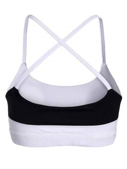 trendy Color Block Cross Back Padded Sporty Bra - WHITE L Mobile
