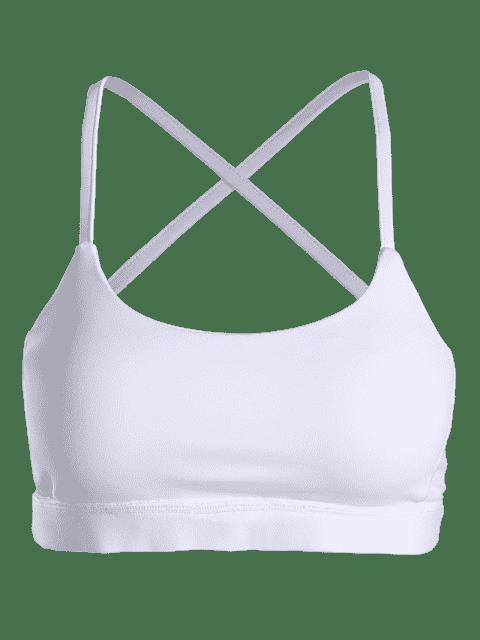 fashion Color Block Cross Back Padded Sporty Bra - WHITE M Mobile