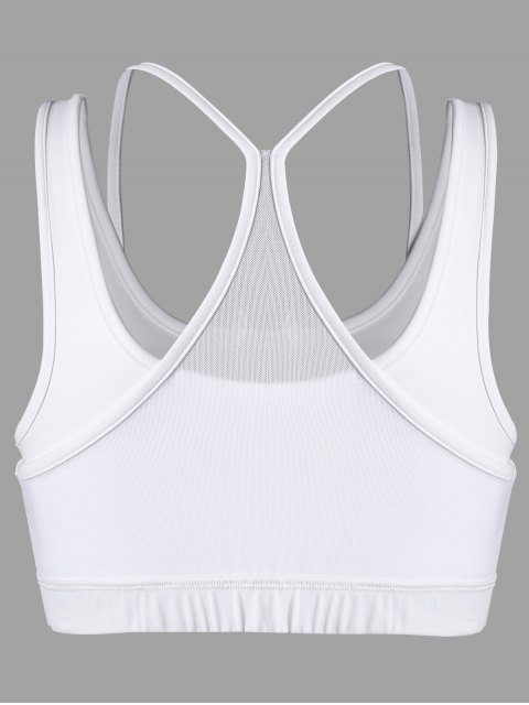 chic Padded Mesh Panel Full Cup Sporty Bra - WHITE L Mobile