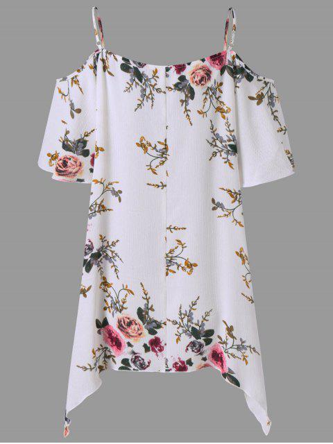 buy Plus Size Dew Shoulder Tiny Floral Blouse - WHITE 3XL Mobile