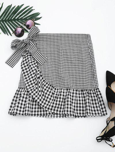 Ruffle Hem Belted Checked Skirt - Checked