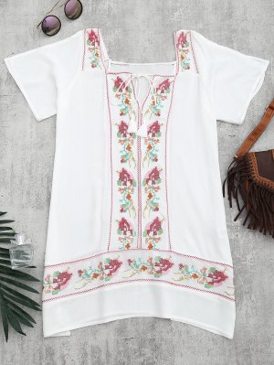 Embroidered Beach Tunic Dress Cover Up - White L