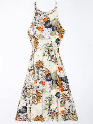 Floral Leaves Print High Slit Maxi Dress - Floral Xl