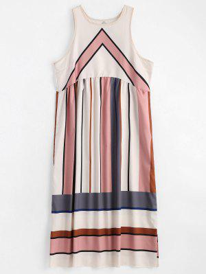 Round Collar Striped Sleeveless Dress - Multi L