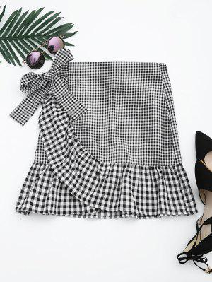 Ruffle Hem Belted Checked Skirt - Checked M
