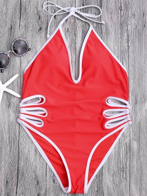 Halter Cut Out High Leg Swimwear - Red S