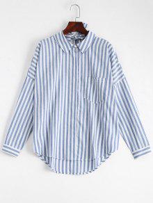 Bowknot Camisa De Rayas Con Bolsillo - Raya L