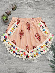 High Rise Pom Pom Beach Cover Up Shorts - Candy Coral L