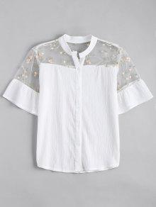 Voile Panel Embroidered Ruffles Top - White S