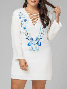 Plus Size Criss Cross Embroidered Dress - White 5xl