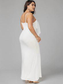 2018 Plus Size Lace Panel Ruffles Prom Dress In WHITE 5XL | ZAFUL