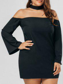Plus Size Zipper Choker Chiffon Dress - Black 3xl