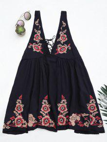 Embroidered Tank Dress Beach Cover Up - Purplish Blue M