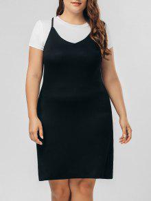 Top Panel Two Tone Plus Size Dress - Black 4xl
