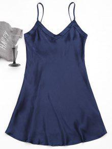 Cami Satin Babydoll Dress - Purplish Blue L
