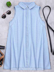 Sleeveless Denim Shift Shirt Dress - Light Blue L