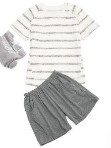 Raglan Sleeve Striped T-Shirt And Pocket Shorts - Off-white L