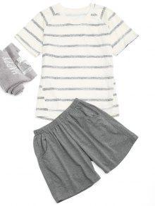 Raglan Manga Rayas Camiseta Y Pantalones Cortos De Bolsillo - Blancuzco L