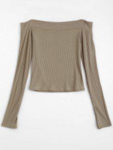 Knitted Ribbed Off Shoulder Top - Khaki S