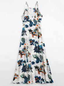 Leaves Print Slit Cami Maxi Dress - Multi Xl