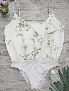 Buy Floral Print Crossover Button Cami Bodysuit - LIGHT GREEN L