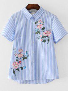 Short Sleeve Stripes Floral Embroidered Shirt - Stripe S
