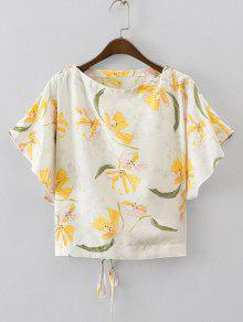 Batwing Floral Lace Up Top - Floral S