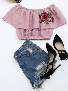 Floral Patched Flounce Crop Blouse - Pale Pinkish Grey S
