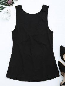 Cut Out Twist Back Tank Top - Black Xl