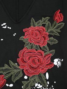 Recortada Hombro Con Tela Motivos Florales Negro De Gota L De wIPWWZTq7