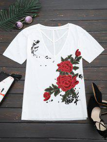 Floral Patched Cut Out Drop Shoulder Tee - White S