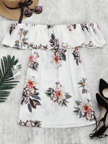 Vestido Recto Con Faldas De Volantes Con Estampado Floral - Blanco L